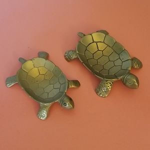 Vintage Brass MCM Turtles for Coins, Trinkets